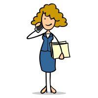Cartoon Business Geschäftsfrau telefoniert mit Smartphone